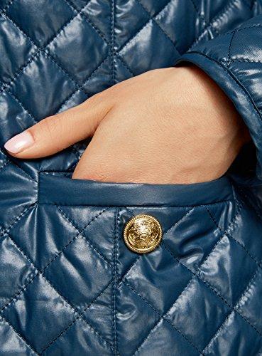 oodji Ultra Femme Blouson Matelassé avec Boutons-Pression Bleu (7400N)