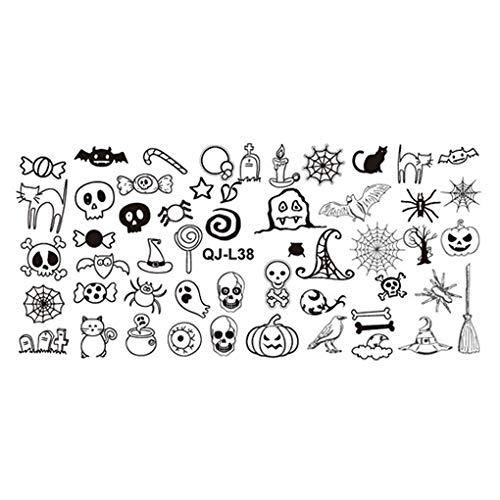 fish Rectangle Nagel-Kunst-Schablone Mold Halloween Thema Weihnachten Nail Art Stamper-Platte