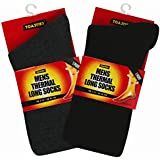 2 Pairs x 2.3 TOG Extra Warmth Heat Thermal Brushed Sock For Mens Suitable for Winter, Outdoor Work, Travel, Camping & Ski Wear