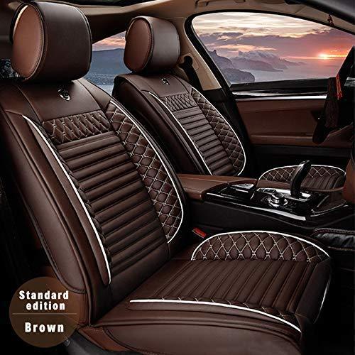 Muchkey 5-Sitze Alle Jahreszeiten Auto Sitzbezügesets Autositzauflage Leder für Jeep Rubicon Grand Cherokee Zubehör für Autositze Stil A braun -