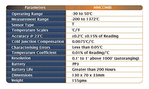 TME MMCOMBI Thermomètre sonde digital intégral, gamme pro, Noir