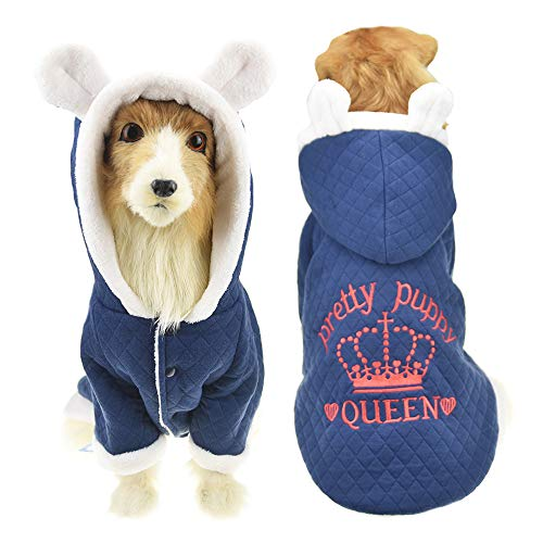 MUYAOPET Muyaotet Winterjacke mit süßen Ohren, für große Hunde, Labrador, Golden Retriever, Fleece, Kleidung bei kaltem Wetter, 4XL, blau Polar-fleece Ear Warmer