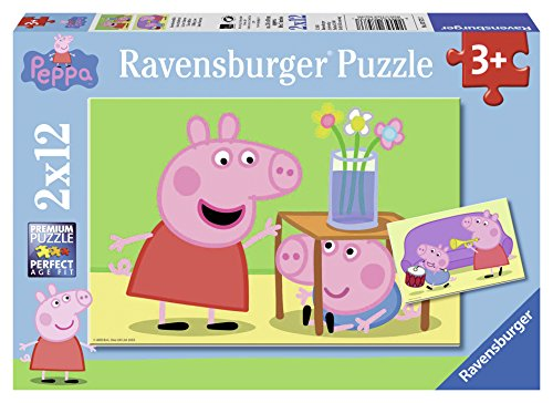 Ravensburger 075737 - Peppa Pig: Geschwisterliebe, 2 x 12 Teile Puzzle