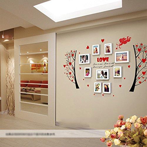 AJZGF Mur de Photo, Mur de Cadre Photo, Cadre Photo Moderne Collage Bois Massif Rouge/Rose Installation Murale Facile (Couleur : Blanc)