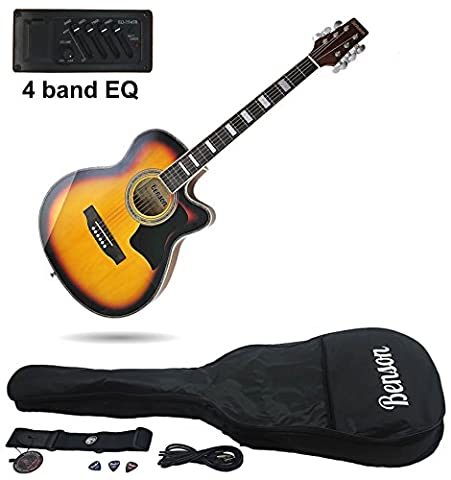Benson S-Line Electric Electro semi Acoustic hollow body guitar ( retro sunburst) Fender picks