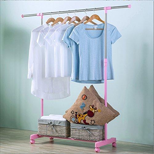 Wäscheständer Single Pole Rail Rod Einstellbare Kleidung Rack Kleiderbügel, mit 4 360 Grad Räder (2 mit Schloss) (Farbe : Pink) -