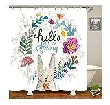 Bishilin Badvorhang Anti-Schimmel Kaninchen mit Herz 3D Lustiger Duschvorhang Polyester-Stoff 180x180
