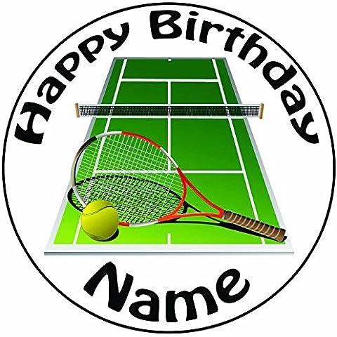 Personalizzabile Tennis e racchetta–Topper per torta a pre-cut rotondo 8