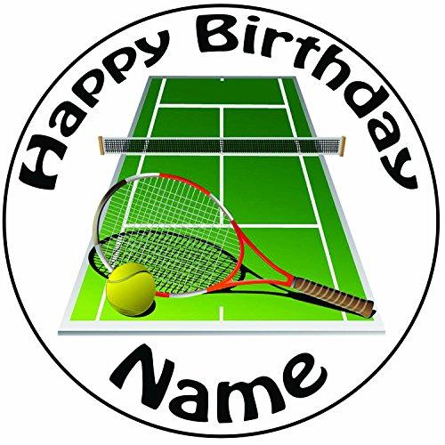 personnalisé court de tennis et Raquette de gâteau–Une prédécoupée ronde Décoration de glaçage 20,3cm (20cm)