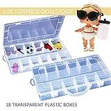Diadia - Caja de almacenamiento para juguetes, organizador portátil de plástico, con capacidad para muñecas sorpresas, bebés y mascotas, artes y manualidades, coleccionables y más, ligero, diseño de cierre seguro, 18 compartimentos