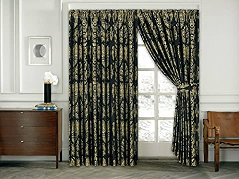 Luxury Jacquard Curtain Pencil Pleat Fully Lined Ready Made Tiebacks