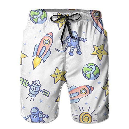 Men's Shorts Swim Beach Trunk Summer Cartoon Rockets Astronaut Athletic Classic Shorts with Pockets - XXL