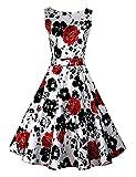Pinkyee Damen A-Linie Kleid, Wei?-Rote Rose, XL