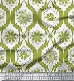 Soimoi Grun Baumwolle Ente Stoff Blumen- Damast gedruckt