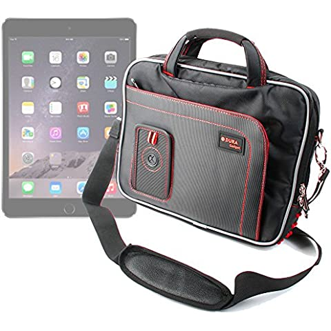 DURAGADGET Maletín Negro y Rojo Para Apple iPad Air 2 ( Wi-Fi, Wi-Fi + Cellular ) - Con Bandolera Ajustable