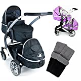 iSafe Tandem Pram me&you - 2 Tone Black + X 2 Foot Muff +x 2 Rain Cover (Baby Product)