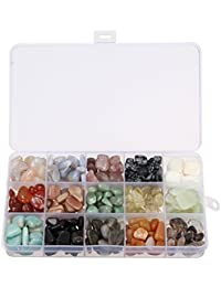Piedras preciosas, charminer Natural Piedra de piedras de 15 MIX Wei?Er Ágata, bluechal de Zedon, cuarzo de fresas, nieve de pino, Tridacna, Ágata, sol piedra, dongling Jade, citrino etc