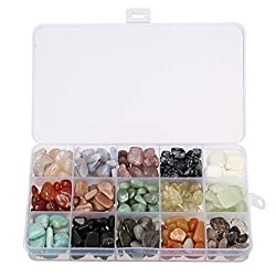 Crystal Quartz Stones With Box,charminer 15-stone Mix Natural Tumbled Stones For Decoration Health Aquarium Necklace M