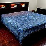 INDIA ARTS Handgefertigt 100% Baumwolle Baum des Lebens Tapisserie Tischdecke Tagesdecke Überwurf Bett Tabelle Überwurf Beach Picknick Decke 88x 104Indigo Blau