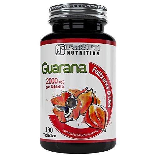 Guarana 180 Tabletten je 2000mg von Fat2Fit Nutrition Abnehmen leicht gemacht
