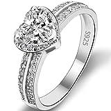 Flyonce Mujer Plata de ley 925 Anillo Arcollas de matrimonio Corazón Amor Elegante para regalo novia boda fiesta noche Zirconia Claro Tamaño O