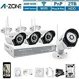A-ZONE Kit Caméra de Surveillancepour la Maison 4 Canal 960P NVR 4x 1.0MP WIFI IP Caméra Vidéo de Surveillance Sans Fil avec le Disque Dur 2TB