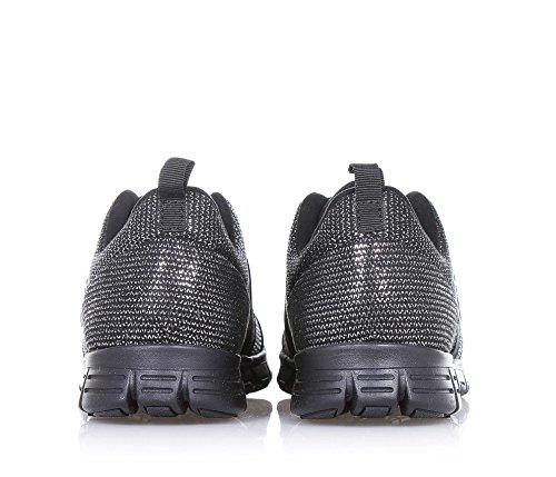 SNAPPY - Scarpa ginnica nera e argentata, in tessuto, con logo laterale, fascia elastica, cuciture a vista e suola in gomma, Bambina, Ragazza, Donna Nero/Argento