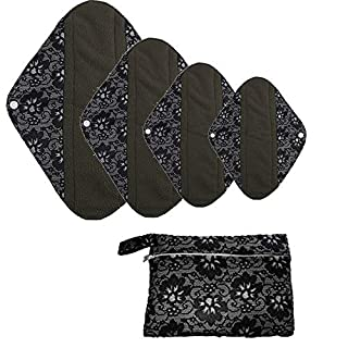 Bamboo Charcoal Reusable Cloth Menstrual Pads,AIYoo 4 Pcs Set Washable Panty Liners Mama Cloth for Women,Daily Overnight Sanitary Towel Napkins with Wet Bag