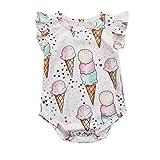 Style_Dress Baby Kleidung Set Neugeborene Jungen Mädchen Sommer Ärmellos Cartoon-Eiscreme-Strampler Overall Tops Romper Outfits Spielanzug Set (Weiß, 0-3 Monate)