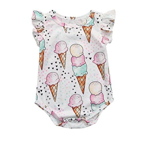 idung Set Neugeborene Jungen Mädchen Sommer Ärmellos Cartoon-Eiscreme-Strampler Overall Tops Romper Outfits Spielanzug Set (Weiß, 0-3 Monate) ()