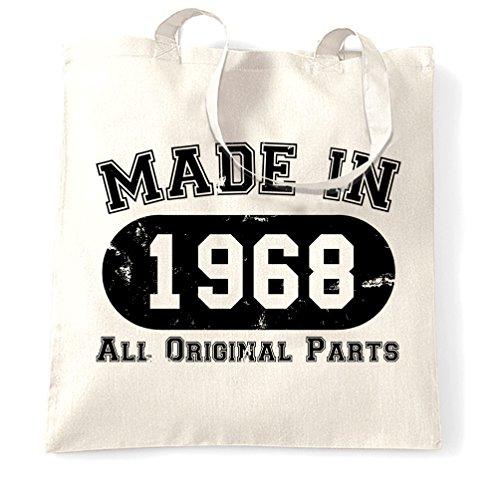50 ° Compleanno Sacchetto Di Tote Made Nel 1968 tutte le parti originali Distressed cinquantesimo White