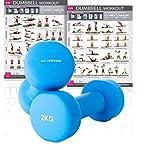 KG Physio Neopren-Hanteln für Damen und Herren (nur paarweise erhältlich), inklusive KOSTENLOSEM dop (Light Blue (2) x 2 Kg)