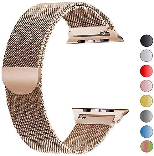 VIKATech Ersatzarmband kompatibel mit Apple Watch 40mm 38mm   Edelstahl Armband   Smartwatch Ersatzarmbänder mit Magnet kompatibel mit iWatch Series 5/4/3/2/1, Gold