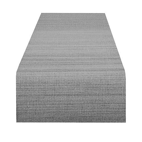 Delindo Lifestyle Chemin de table SAMBA anthracite, imperméable anti tache, pour la maison et jardin, 40x140 cm
