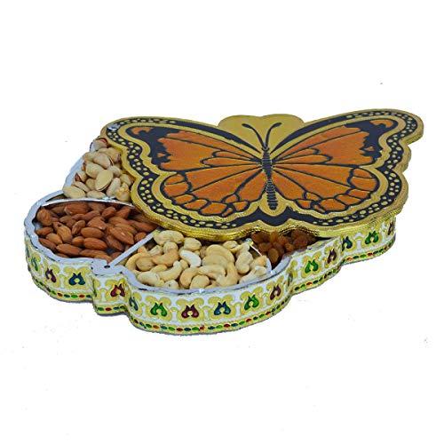 Aluminium-dry Box (Die Hue Cottage Deko Box Meenakari Platte Dry Fruit Box Aluminium Material Schmetterling Design Geschenk indischen)