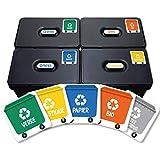 5 stickers recyclage. Étiquettes autocollants pour la gestion des déchets. (XS)