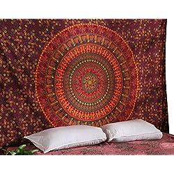 RAJRANG BRINGING RAJASTHAN TO YOU Tapiz Pared - Tapices Mandala Hippie Colgar en la Pared Boho Bohemio Tapiz Indio Toalla de Playa Camel Tapestry Red Wall Hanging - Rojo - 213 x 137 cm