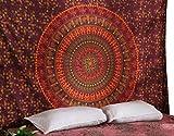 RAJRANG Hippie Mandala Tapestry Indisch Wandbehang Bohemian Orange Psychedelic Blumen Boho Wandteppich Indisch Wandtuch Room Deko Tapisserie