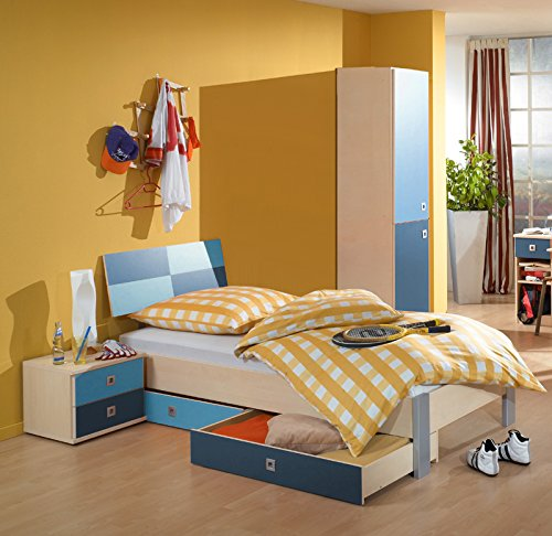 Jugendzimmer Kinderzimmer 5tlg, Set Ahorn - blau Kleiderschrank Jugendbett - Ahorn Set Kleiderschrank