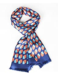 Prettystern - 165cm L'écharpe de soie 2 plis classiques des hommes avec une frange courte ouverte