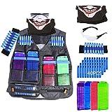 Likecom Giubbotto tattico + 4pcs ricarica clip+ 40 dart nachfüll-pack + bracciale bandoliera + occhiali di protezione protettivi + maschera per i Bambini di Nerf N-Strike Elite