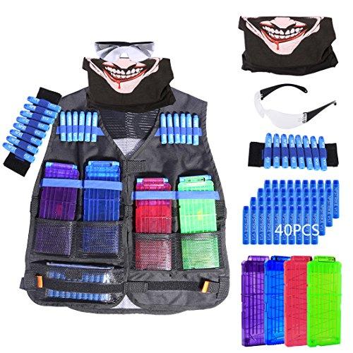 Weste für Nerf, Teckpeak Kinder Taktische Weste Jacken Kit Sets für Nerf MIT 40er Darts Nachfüllpack, 4er Clip Magazine für 12 Darts, Gesichtsmaske, Schutzbrille Brille, Bandolier Handgelenk Band (Magazin Scharfes)