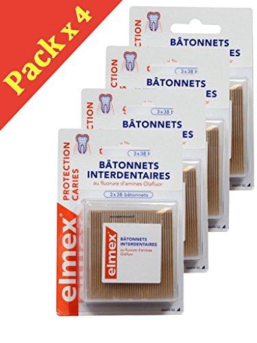 Elmex Kariesschutz Interdentalstäbchen - Packung mit 3 x 38 Stäbchen - 4 Packungen à 3 x 38 Stäbchen (4 Stück)