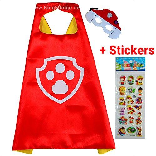 Paw Patrol Marshall Cape und Maske - Superhelden-Kostüme für Kinder - Kostüm für Kinder von 3 bis 10 Jahre - für Superheld Mottopartys! Spielsachen für Jungen und Mädchen - King Mungo - KMSC015 (Robin Verschiedenen Kostümen)