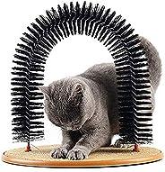 فرشاة للقطط ذات شعيرات بتصميم قوس من توب بيتس للتحكم في تساقط الشعر مع وسادة خدش والنعناع البري