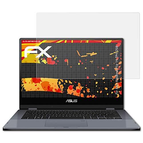 atFolix Schutzfolie kompatibel mit Asus VivoBook Flip 14 TP412UA Bildschirmschutzfolie, HD-Entspiegelung FX Folie (2X)