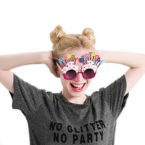 WWVAVA Party Brille Lustige dekorative EIS geformt Alles Gute zum Geburtstag Gläser Neuheit Kostüm Sunglasse für Geburtstagsgeschenk Party Supplies Dekoration, Pink