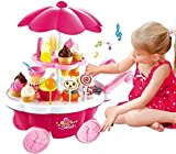 #8: HMC Sweet Shop Cart Kitchen Cart Battery Operated with Music & Led Lights Ice Cream Trolley Shop Set for Kids, Pink
