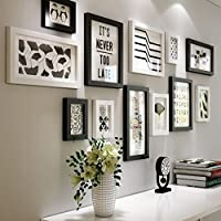 Nom du produit: Pure Photo Frame Simple Series Photo Frame Photo Wall   Nombre de produits: 12 boîtes   Taille du produit: 155 * 64cm (61 * 25inch)   Classification des couleurs: A: noir + blanc, B: tout noir   Matériel: bois massif   Style: style...