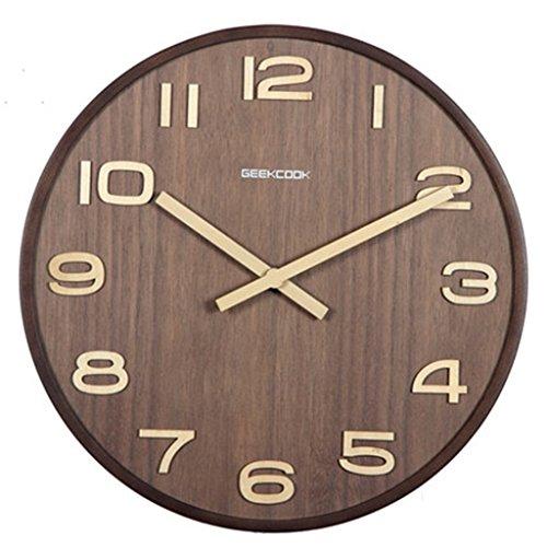 Walnuss-große Tabelle (Chinesische Holz Uhr ruhigen Wohnzimmer Büro Klassische Uhren und Uhren Retro Stil Quarz hängenden Tabelle Walnuss Farbe, Größe: M)